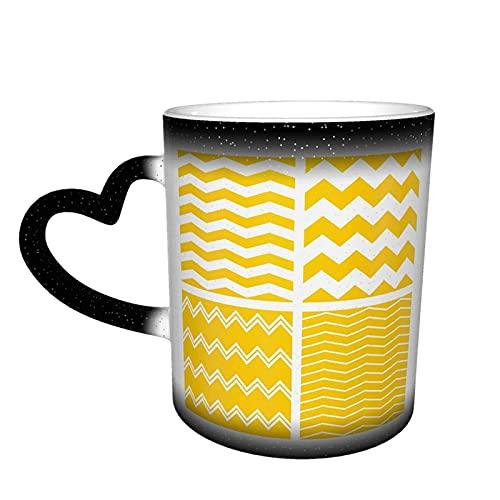 Taza de café de rayas blancas y amarillas que cambia de color, latte o té caliente y tus amigos taza de cerámica termoensible que cambia de color taza de café