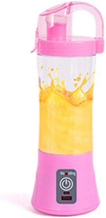 Exprimidor eléctrico portátil Mini Taza de Jugo pequeña Taza de Jugo USB Recargable Batir Huevos Forma Redonda Azul Pink