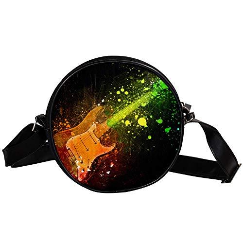 Yuzheng Guitarra electrica Leather Crossbody Circle Bag Purses Cross Body Handbags Trendy...