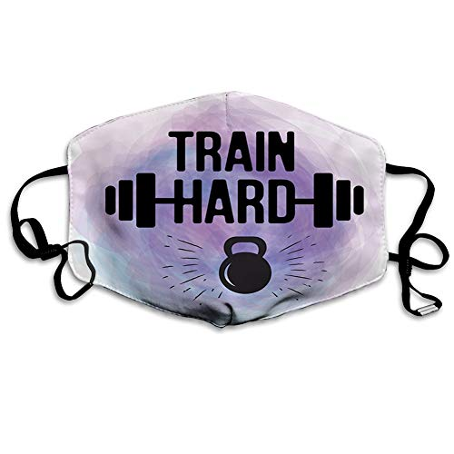 Reusable Face Shield Mouth Scraf Watercolors Style Train Hard Life Message Kettlebell and Barbell decorations for adults Seniors