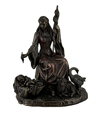 Resin Statues Frigga Norse Goddess Of Destiny Love And Marriage W/Infant Animals & Spindle 6 X 7.75 X 4.5 Inches Bronze