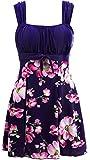Wantdo Bañador Tankini 1 Pieza Vestido de Playa con Falda Mujer Azul Real 56-58