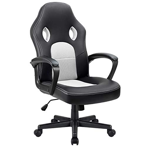 Furmax Office Chair Desk Leather Gaming Chair, High Back Ergonomic Adjustable Racing Chair,Task Swivel Executive Computer Chair Headrest and Lumbar Support (White) chair gaming white