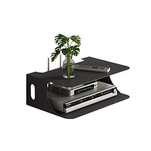 JCNFA-BOEKENPLANK Set Top Shelf Wireless WiFi-router Storage Box Muur Set Top Box Shelf Threading op en neer, (28 * 20 * 10 cm) (Color : Black)
