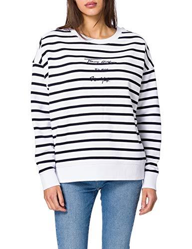 Tommy Hilfiger Oversized Script Open-NK LS Sweater, Cabana STP/Blanc, XXX-Large Femme
