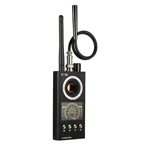 Detector RF Detector de Bug Detector Alta Sensibilidad Detector de señal inalámbrico Anti-Spy donaciones para l 'Alarma sonoro y luminoso zeerkeer, Negro, 6025