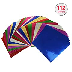 Metallic Cardstock Paper - Includes 112 sheets metallic foil board sheets for your arts, crafts, and designs. Transform your DIY projects into classy and elegant works. High Quality Material - Mirror board sheets paper made of superior quality 10 pt....
