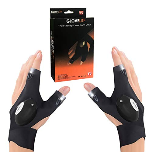 Ledeak Angeln Handschuhe LED Taschenlampe Handschuhe, 1 Paar Fingerlose Nachtbeleuchtung Handschuhe Arbeitshandschuhe mit Licht zum Arbeiten an Dunklen Orten Camping Wandern Notfall Reparaturen