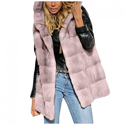 Women's Faux-Fur' Short Hooded Vest Sleeveless Waistcoat Body Warmer Comfortable Jacket Coat Outwear Tops Pink