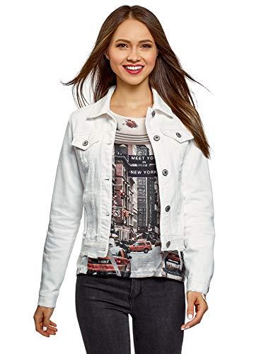 oodji Ultra Donna Giacca in Jeans, Bianco, IT 46 / EU 42 / L