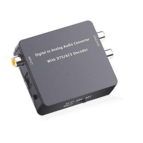 VBARV Decodificador de Audio Digital a analógico de 5.1 Canales, decodificador de Fibra a RCA DAC, convertidor de Fibra a 3,5 mm, Fibra/SPDIF/Toslink/coaxial/DTS/PCM