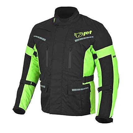 JET Chaqueta Moto Hombre Textil Impermeable con Armadura Gris Plateado (Negro Fluro, M)