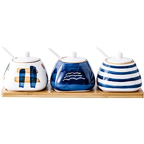 ZQH Creative Ceramic Spice Jar Cucina Forniture Sale E Zucchero Shaker Style Style Style Pots Pots Ciotole con Vassoio E Contenitore del Cucchiaio Barattoli Condimento