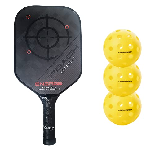 Engage Poach Infinity Second Generation Pickleball Paddle (Standard Weight 8.0 – 8.5 oz) & Onix 3-Pack Fuse G2 Pickleballs & Pickleball Tips Bundle Set – Racket for Control, Feel, Spin (Red)