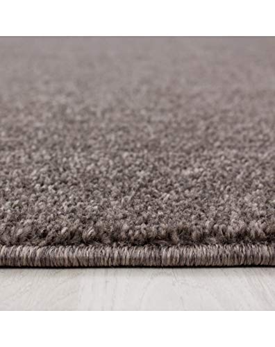 Wohnzimmer Teppich Kurzflor Modern Einfarbig Meliert Uni günstig Versch. Farben Oeko Tex Zertifiert - Mocca, 120x170 cm