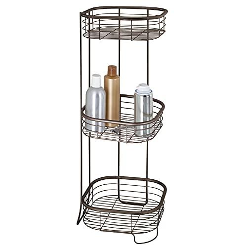 mDesign Repisa para baño - Esquinero autoportante - Estantería para ducha y baño - Balda para baño con tres estantes para champú, jabón y más - En metal resistente - color bronce
