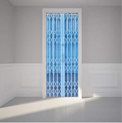 Puerta Mural Puerta plegable azul PVC Impermeable Extraíble Calcomanías de 3D Arte Puerta Para la Dormitorio Sala de Estar Decoración del Hogar 77x200cm