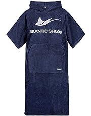Atlantic Shore Surf Poncho ☆ badjas/omtrekhulp van hoogwaardig katoen ➤ marineblauw/donkerblauw