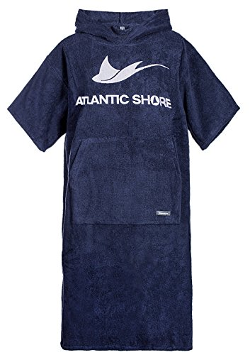 Atlantic Shore | Surf Poncho ☆ Bademantel/Umziehhilfe aus hochwertiger Baumwolle ➤ Navy Blue/Dunkelblau (2) Long (ab 175cm)