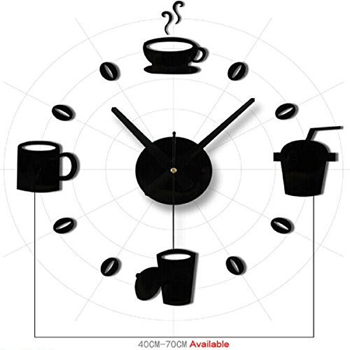 Tongshi Moda acrílico Bricolaje Auto-Adhesivo de Pared Decoración Interior Creativa Reloj