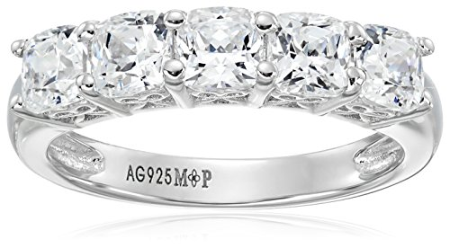 Platinum or Gold Plated Sterling Silver Cushion-Cut 5-Stone Ring made with Swarovski Zirconia, Size 5