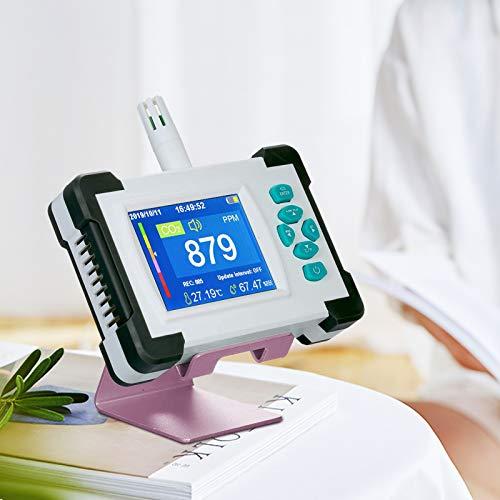 S SMAUTOP CO2-Messgerät, 0-9999 PPM Hochpräzise Professionelle CO2 Melder, Tragbarer Farbdisplay Temperatur Relative Luftfeuchtigkeit Kohlendioxid-Detektor mit Datenexport&Alarmfunktion Überschreiten