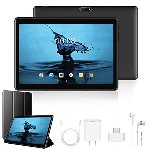 Tablet 10 Pulgadas 4G Full HD 3GB de RAM 32GB/128GB de ROM Android 9.0 Certificado por Google GMS Quad Core Tableta Batería de 8500mAh Dual SIM 8MP Cámara Tablet PC Netfilx WiFi Bluetooth OTG(Negro)