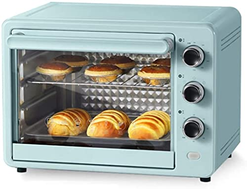 Multi-Function Oven,32L Toaster Oven Timer Double Glass Door Top and Bottom Heat Black Convection Countertop Toaster Oven