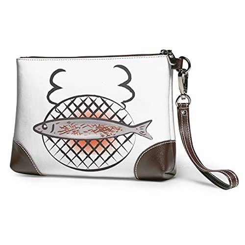 MGBWAPS Clutch, Clutch aus Leder, mit Fischmotiv, Kosmetiktasche, Handtaschen-Armbänder, (siehe abbildung), Einheitsgröße