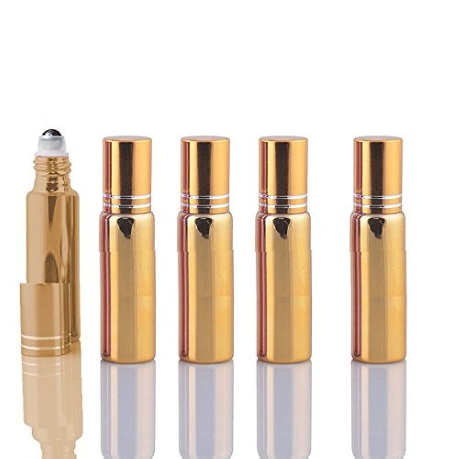 文化円形翻訳する10 Sets Colored 5ml UV Coated Glass Roller Ball Refillable Rollon Bottles Grand Parfums with Stainless Steel Rollers for Essential Oil, Serums, Fragrance (Gold) [並行輸入品]