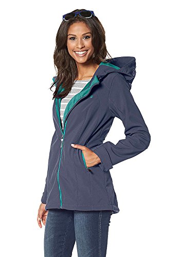 Flashlights Damen Softshelljacke Softshell Jacke lang long (34, Blau)