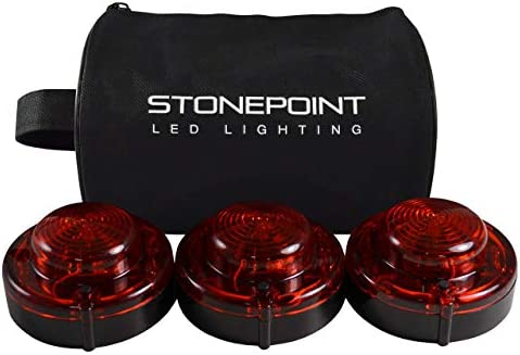 Stonepoint Emergency LED Road Flare Kit – Set of 3 Super Bright LED Roadside Beacons with Magnetic Base – Flashing or Steady Red Lights Visible Up to 2 Miles Away – Includes Storage Bag