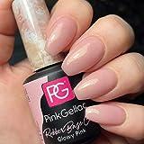 Pink Gellac Rubber Base Cover Glowy Pink Gel Esmalte de uñas 15 ml para lámpara UV LED | Brillo Shellac Gel Nail Polish for UV Nail Lamp | Laca de uñas LED