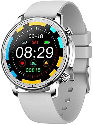Smart Watch Fitness Trackers - Reloj inteligente de metal de alta definición con pantalla de color de alta definición y placa de esfera de gel de sílice para reloj pulsera de reloj en tiempo real