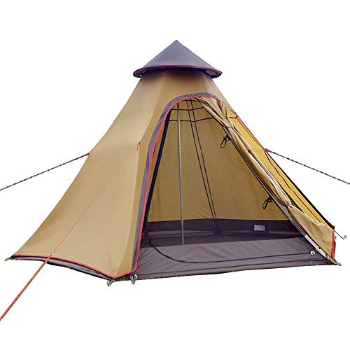 Sport Tent wasserdichte Campingzelt Familienzelt Tipi Zelt Outdoor Doppelschichten Teepee 3.1M / 10ft Pyramidenzelt Indianzelt mit festen Groundsheet (Khaki)