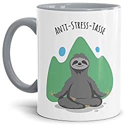 Anti Stress Tasse Faultier - Faultiertasse für Ihn/Geschenkidee für den Freund/Schöne Motivtasse zum Entspannen - Innen & Henkel Grau