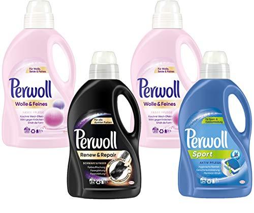 Perwoll Waschmittel Großpackung 4er Mix (2x Wolle, 1x Schwarz, 1x Sport) 2x20 Waschladungen + 2x24 Waschladungen