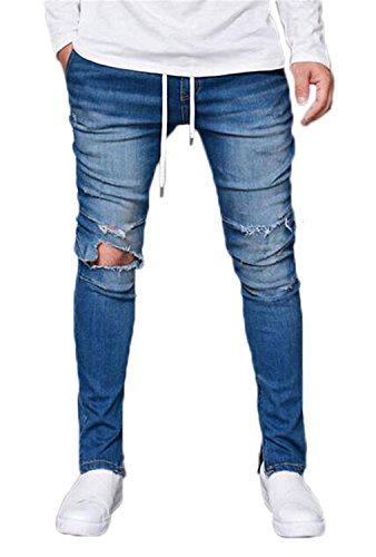 Men's Skinny Destroyed Ripped Jeans Fashion Elastic-Waist Denim Pants Blue 32