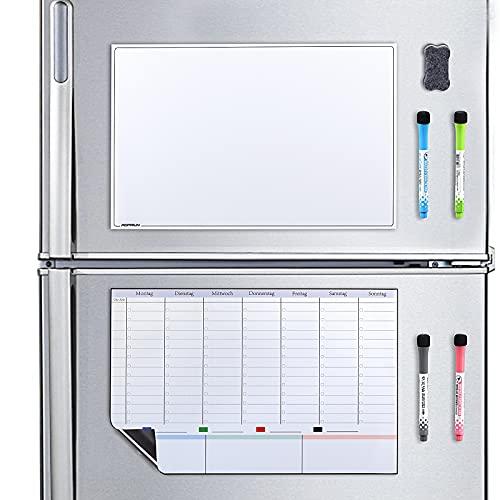 POPRUN Magnetyczny terminarz tygodniowy rodzinny zmywalny tablica magnetyczna na lodówkę, planer gospodarstwa domowego, planer posiłków (2 sztuki), 43 x 28 cm, w języku niemieckim