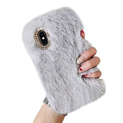 Misstars Plüsch Hülle für Galaxy A40, Niedlich Flauschige Winter Warme Faux Pelz Handyhülle Weiche TPU Backcover mit 3D Bling Kristall Diamant Schutzhülle für Samsung Galaxy A40, Grau