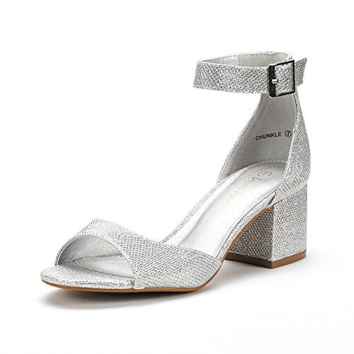 DREAM PAIRS Women's Chunkle Silver Glitter Low Heel Pump Sandals Ankle Strap Dress Shoes - 5 M US