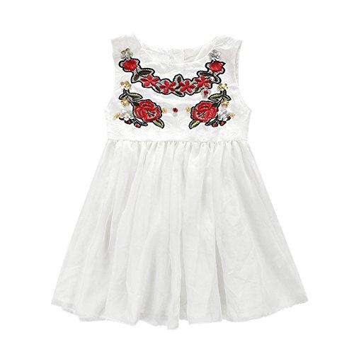 Diamondo Infantil Meninas Vestido de Véu Branco Diamante Floral Saia de Vestido de Princesa (Idade (Ano): 4-5Y)