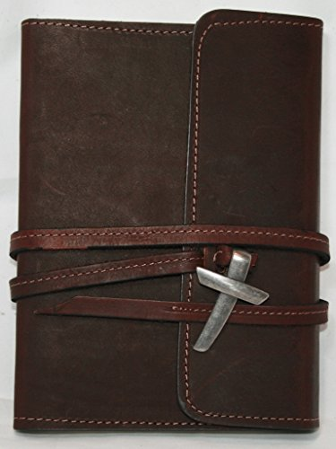 """Leather Journal / Leather Notebook / Leather Diary 5"""" X 7"""" Genuine Top Grain Latigo Leather - With Leather Strap Closure and Pewter Finish Cross and Lined Kraft Paper Insert (Refills Available) Handcrafted in USA"""
