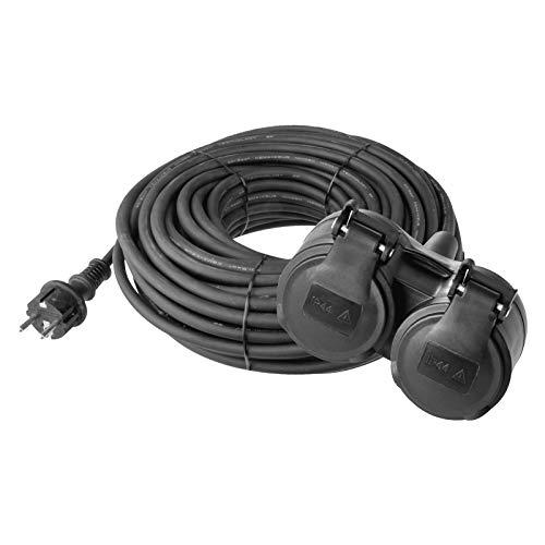 EMOS Verlängerungskabel mit 2 Schuko Steckdosen, 15 m, Doppel-Verlängerung, 2 Schutzkontakt Buchsen, Gummi-Kabel für den Außenbereich, IP44, H05RR-F3G 1,5 mm²