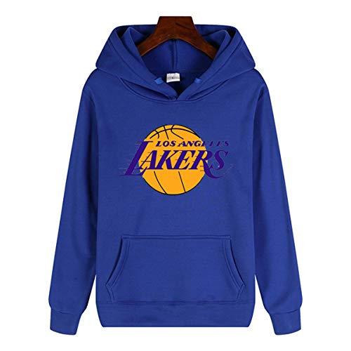 Herren Pullover Lakers 23# James Jersey Pullover Kapuzen-Sweatshirt Langarm-Pullover Top Lässige Hoodie mit Koala-Taschen,Blau,XXXL