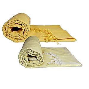Riyashree Organic Cotton Silky Soft Bhagalpuri Dull chadar Throw for All Season ( 53 x 96 inch ) Combo Pack of 2