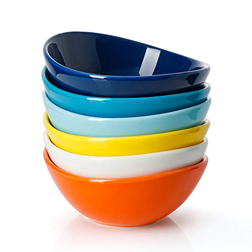 Sweese 101002 Porcelain Bowls  10 Ounce for Ice Cream Dessert  Set of 6 Hot Assorted Colors