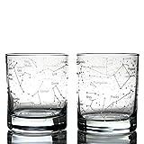 Greenline Goods Bicchieri da Whisky Cielo Estivo del Nord e costellazioni (Set di 2) Set Regalo Bicchiere inciso da 10 Once - Bicchiere Wisky Rocks Vecchio Stile
