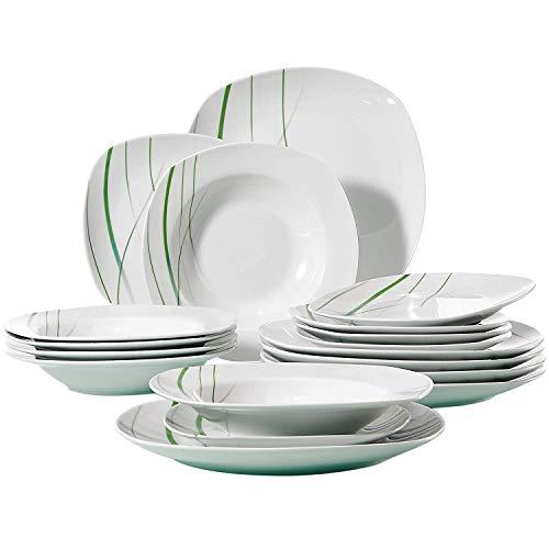 VEWEET, Tafelservice 'Aviva' aus Porzellan 18 teilig | Tellerset für 6 Personen | Mit je 6 Dessertteller, Tiefteller und Flachteller