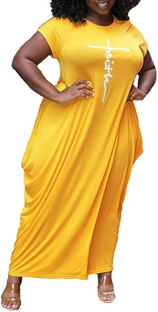 XINXIANGLIAN Women's Faith Maxi Dresses Plus Size Oversize Causal Loose Faith Long Dresses from L-5XL